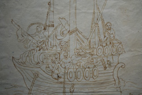 Rare and Unusual 15th Century Sepia Color Wash Drawing of a Diver, Italy -
