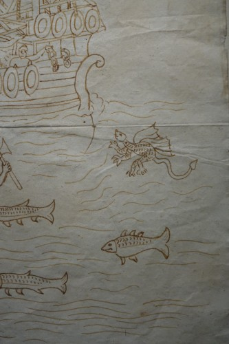 16th century - Rare and Unusual 15th Century Sepia Color Wash Drawing of a Diver, Italy