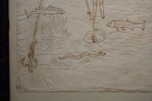 Rare and Unusual 15th Century Sepia Color Wash Drawing of a Diver, Italy - Middle age