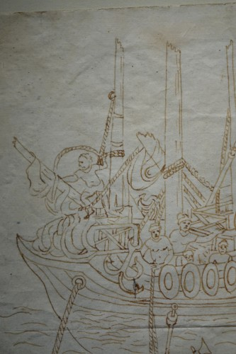 Middle age - Rare and Unusual 15th Century Sepia Color Wash Drawing of a Diver, Italy