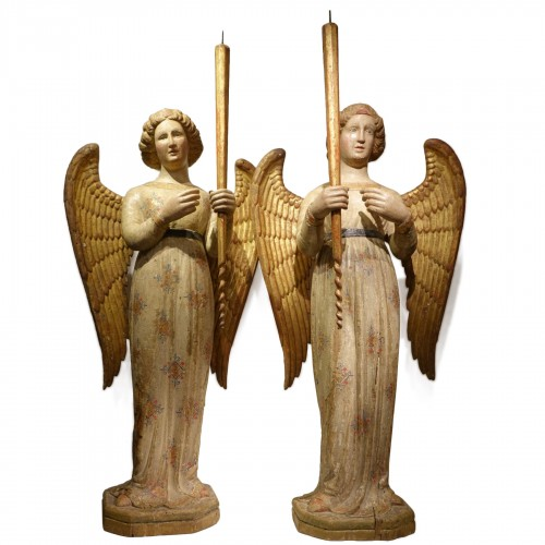 A pair of 14th century angels, Siena Italy
