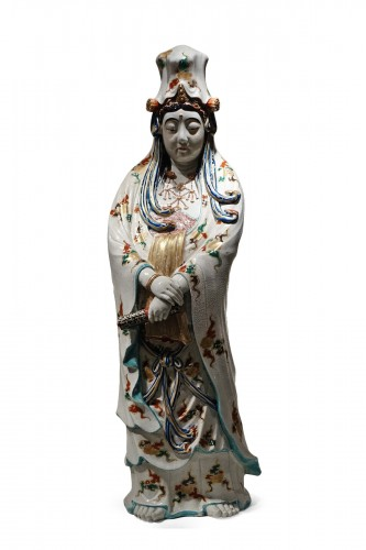 A huge Kutani statue of Kannon, Meiji period ,Japan