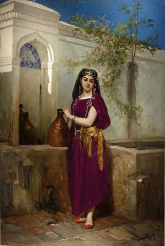 Painting Representing a Young Girl at a Fountain, Signed BEYLE, circa 1878