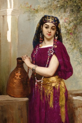 Painting Representing a Young Girl at a Fountain, Signed BEYLE, circa 1878 - Paintings & Drawings Style Napoléon III