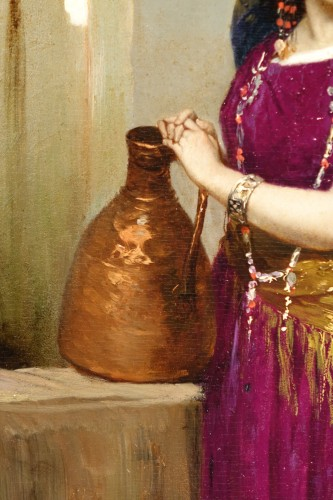 Painting Representing a Young Girl at a Fountain, Signed BEYLE, circa 1878 -