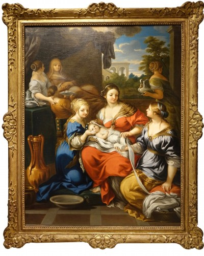 "Oil on canvas representing ""the Birth of the Virgin Mary"",France,17th c."