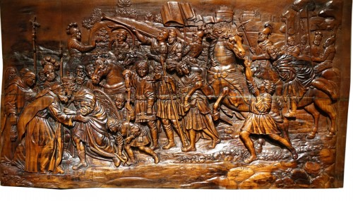 17th Century Wood Panel Sculpture Carved in Low Relief, Italy or France