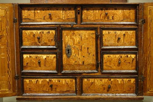 Furniture  - 16th Century German Cabinet with a Floral and Architectural Decoration