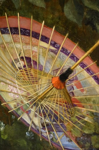 Paintings & Drawings  - A still life with Japanese umbrella,- Camille Prévost-Roqueplan circa 1880