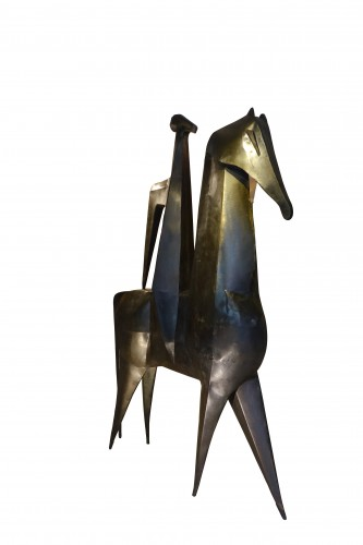 Sculpture  - Monumental sculpture in iron, rider on a horse, signed AMBROSIO ,1967