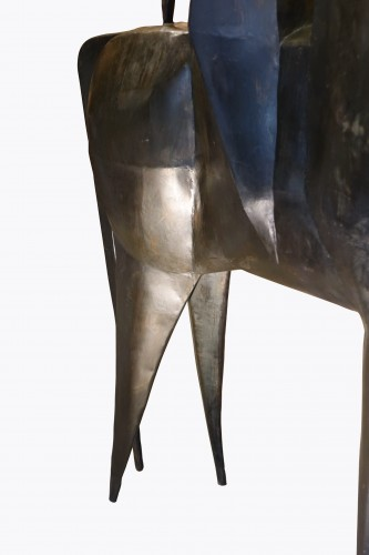 Monumental sculpture in iron, rider on a horse, signed AMBROSIO ,1967 -