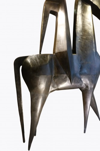 20th century - Monumental sculpture in iron, rider on a horse, signed AMBROSIO ,1967