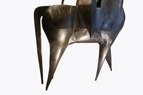 Monumental sculpture in iron, rider on a horse, signed AMBROSIO ,1967 - 50