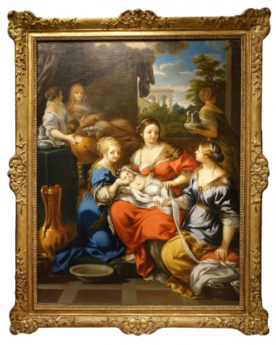 The Nativity of Mary, Oil on Canvas, 17th Century French School