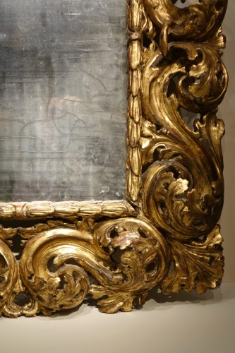 "18th Italian Century ""A Cartoccio"" Mirror - Mirrors, Trumeau Style Louis XIV"