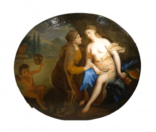 """Vertumne and Pomone"",oil on canvas attributed to F.A. VERDIER,circa 1700"