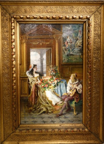 Gothic revival scêne ,oil on canvas signed G.Castiglione,circa 1880
