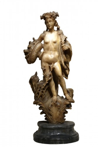Alabaster Statue of the Goddess Flore, Flemish, 17th Century
