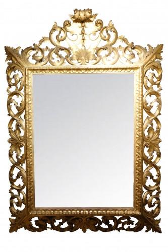 Mirrors, Trumeau  - Important Italian 19th c.pediment giltwood mirror