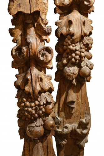 17th century - Pair of large carved fruitwood elements, France 17th century