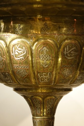 Large Brass, Copper and Silver Incense Burner Syria or Egypt, 19th century -