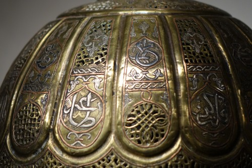 Large Brass, Copper and Silver Incense Burner Syria or Egypt, 19th century - Napoléon III