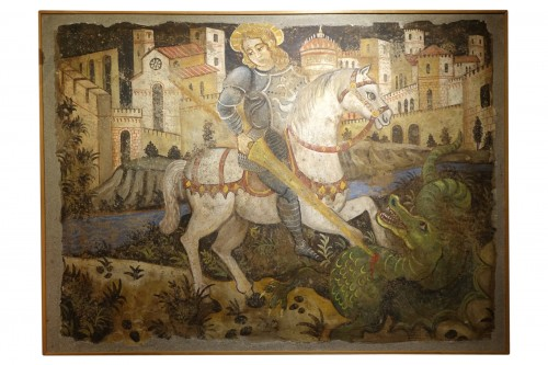 Fresco (strappo); Saint Georges slaying the dragon,Italy,circa  1500