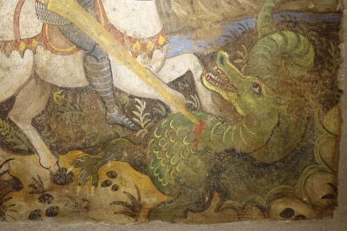 Paintings & Drawings  - Fresco (strappo); Saint Georges slaying the dragon,Italy,circa  1500