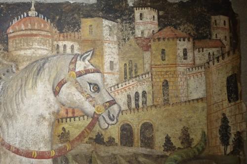 Fresco (strappo); Saint Georges slaying the dragon,Italy,circa  1500 -