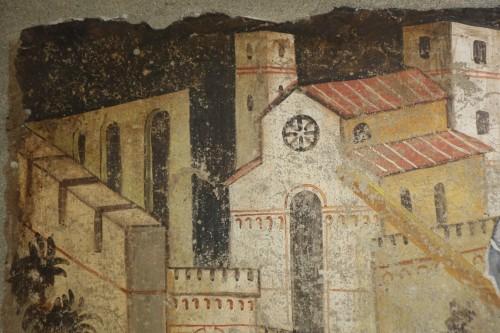 <= 16th century - Fresco (strappo); Saint Georges slaying the dragon,Italy,circa  1500