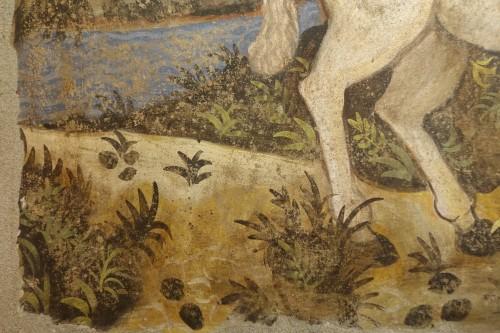 Fresco (strappo); Saint Georges slaying the dragon,Italy,circa  1500 - Renaissance