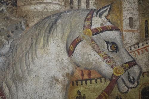 Renaissance - Fresco (strappo); Saint Georges slaying the dragon,Italy,circa  1500