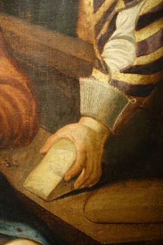 Paintings & Drawings  -  Genre painting at the cobbler workshop, oil on canvas, Flanders, 17th c