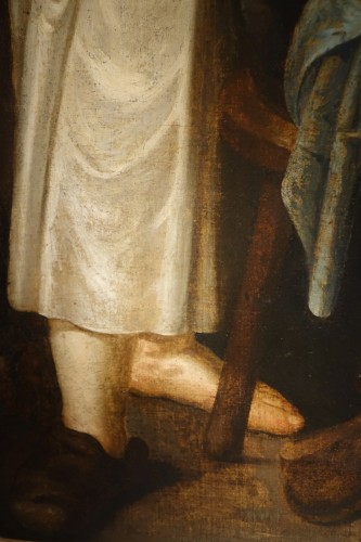 Genre painting at the cobbler workshop, oil on canvas, Flanders, 17th c -