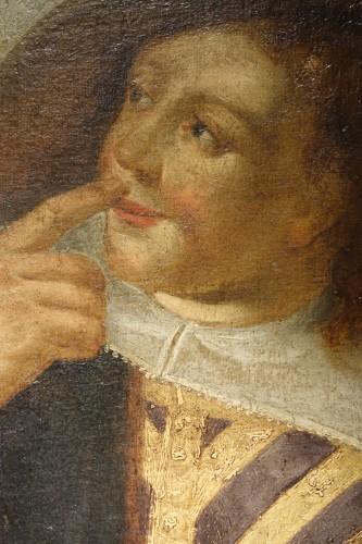 Antiquités -  Genre painting at the cobbler workshop, oil on canvas, Flanders, 17th c