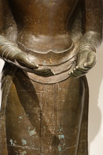 Asian Art & Antiques  - A huge standing bronze Bouddha,Northern Thailand 19th century