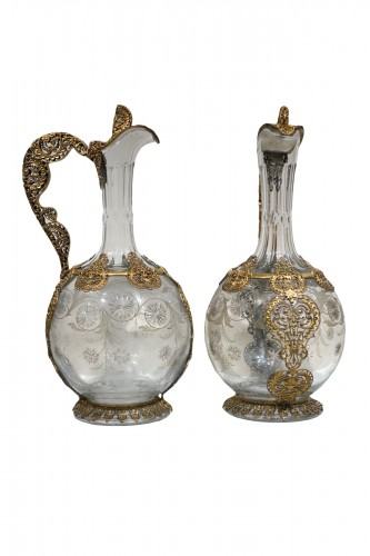 Pair of crystal glass and filigree ewers, France, late 19th century