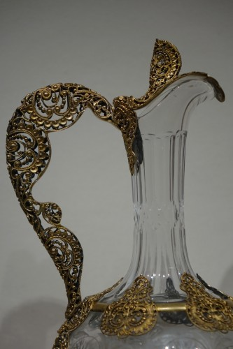 Pair of crystal glass and filigree ewers, France, late 19th century - Glass & Crystal Style Napoléon III