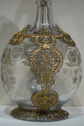Glass & Crystal  - Pair of crystal glass and filigree ewers, France, late 19th century