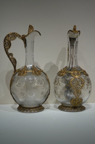 Pair of crystal glass and filigree ewers, France, late 19th century - Napoléon III