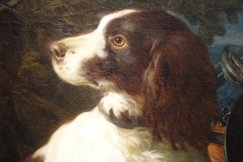 A Springer dog in front a hunting trophy - Frans Werner von TAMM  - Paintings & Drawings Style French Regence
