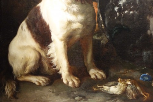 Paintings & Drawings  - A Springer dog in front a hunting trophy - Frans Werner von TAMM