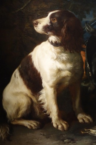 Antiquités - A Springer dog in front a hunting trophy - Frans Werner von TAMM