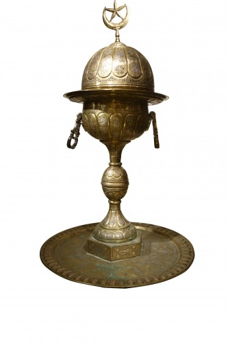 Very large silver inlaid brass perfume burner, Egypt 19th century