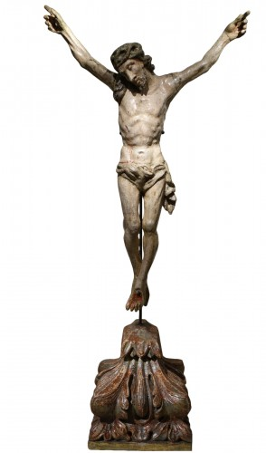 Large Christ  in lacquered  wood, France 18th century