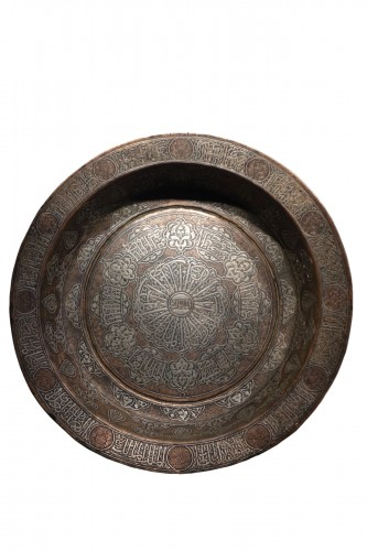 Large copper basin, silver inlaid, Egypt, 19th c. or before.
