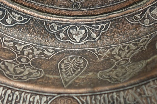 Large copper basin, silver inlaid, Egypt, 19th c. or before. -