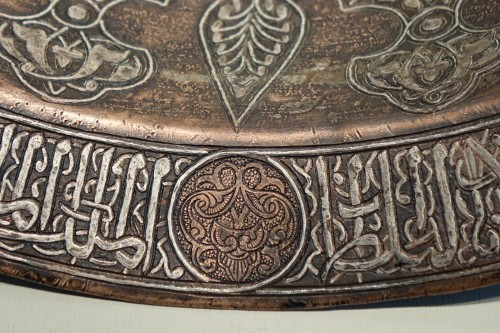 Large copper basin, silver inlaid, Egypt, 19th c. or before. - Empire