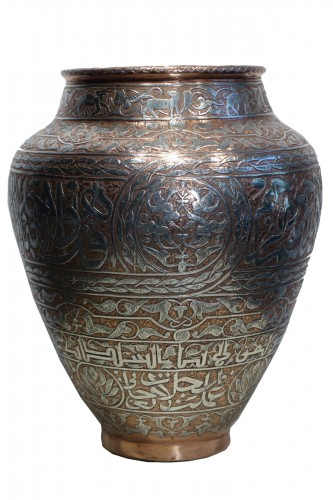 Large silver inlaid copper vase,Syria or Egypt, circa 1900.