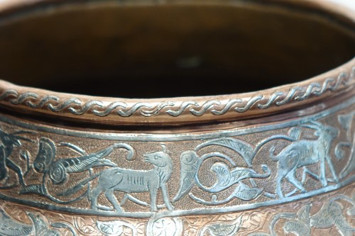 Large silver inlaid copper vase,Syria or Egypt, circa 1900. -
